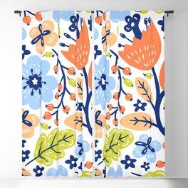 Baby Blue Flower Pattern Blackout Curtain