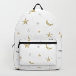 Gold and silver moon and star pattern Backpack