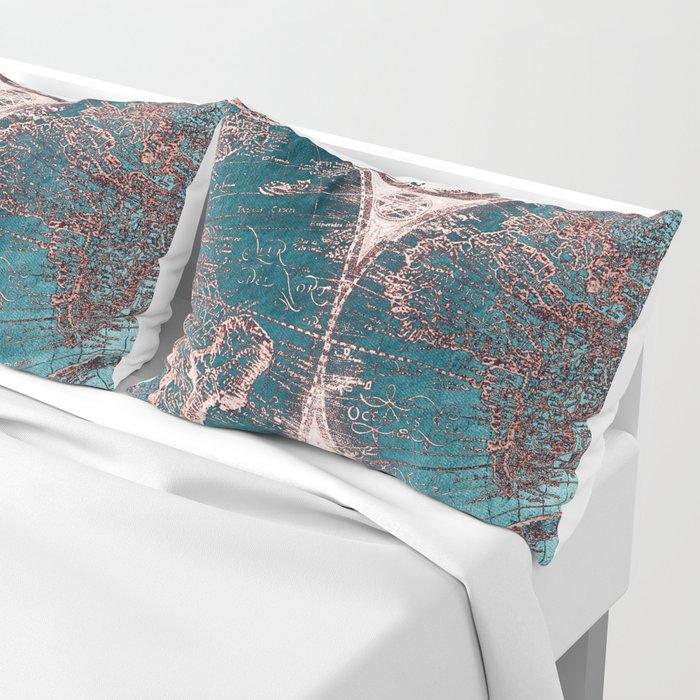 Antique World Map Pink Quartz Teal Blue by Nature Magick Pillow Sham