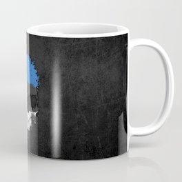 Flag of Estonia on a Chaotic Splatter Skull Coffee Mug