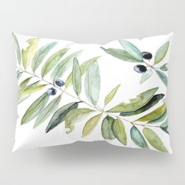 Leaves Berries Sage Green Turquiose Nature Art Floral Watercolor Pillow Sham