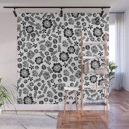 Linocut florals pattern minimal black and white home decor college dorm bohemian printmaking Wall Mural