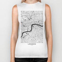 London Black and White Map Biker Tank
