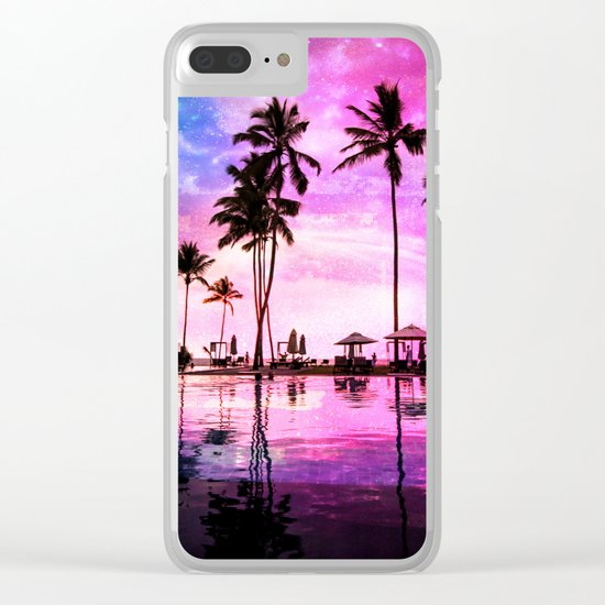 Neon Sunset Clear iPhone Case