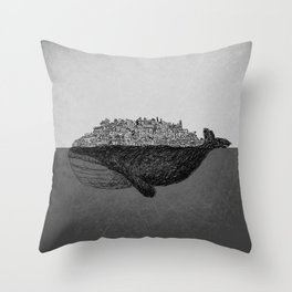 Whale City Throw Pillow