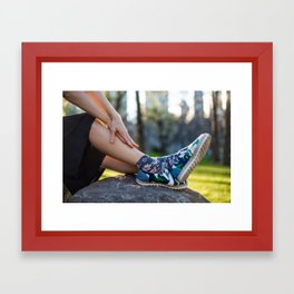 Woman`s fashionable casual summer outfit with black skirt, shoes and socks Framed Art Print