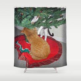 12 cats a-climbing Shower Curtain
