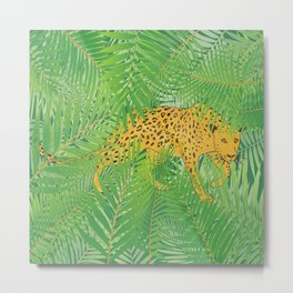 Leopard with tropical leaves Metal Print