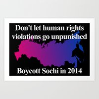 bisexual Art Prints featuring Boycott Sochi - Bisexual Flag Gradient by Boycott Sochi