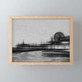 White Noise Santa Monica Pier Framed Mini Art Print