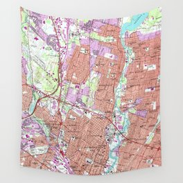 Vintage Map of Hackensack NJ (1955) Wall Tapestry