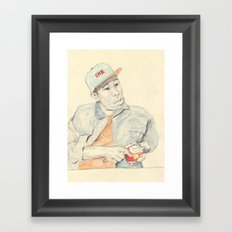 Tyler with an apple Framed Art Print