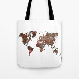 Siena Rosso Marble World Map Tote Bag