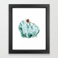 Fashion Blue Turquoise Teal Dress Girl Framed Art Print