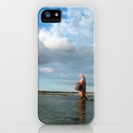 Lady catching mussels iPhone Case