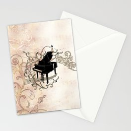 Music, piano with key notes and clef Stationery Cards