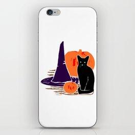 Witch Cat Pumpkin Woodcut Halloween Design iPhone Skin