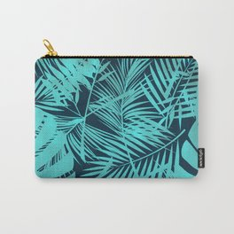 Aqua-Green Palm Leaves Pattern Carry-All Pouch