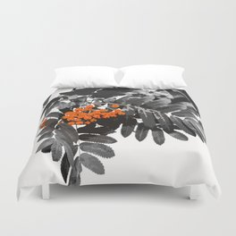 Red Rowan Berries In Black And White Background #decor #society6 Duvet Cover