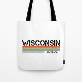 Retro Vintage Stripes Wisconsin Gift & Souvenir Graphic Tote Bag