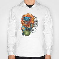 foo fighters Hoodies featuring Foo Dog by missfortunetattoo