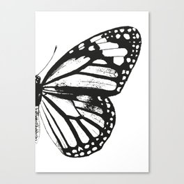 Monarch Butterfly | Right Butterfly Wing | Vintage Butterflies | Black and White | Canvas Print
