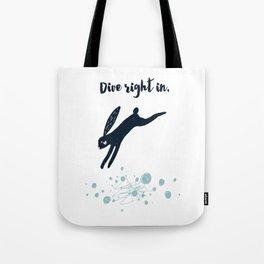 Dive Right In - Black Rabbit Tote Bag