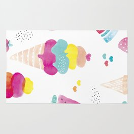 Sweet candy summer water melon ice cream and strawberry watercolor Rug