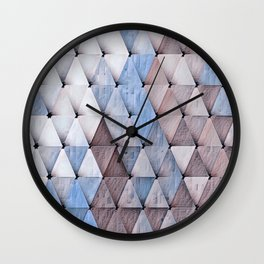 Textured Triangles Taupe Denim Wall Clock