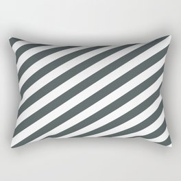 PPG Night Watch Pewter Green & White Stripes Fat Angled Lines - Stripe Pattern Rectangular Pillow