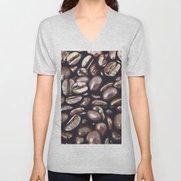 roasted coffee beans texture acrfn Unisex V-Neck