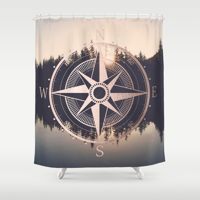 Rose Gold Compass Forest Shower Curtain By Cascadia