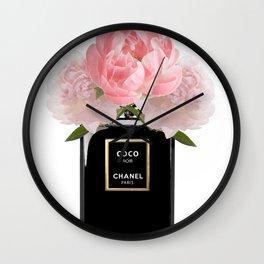 Black perfume floral Wall Clock