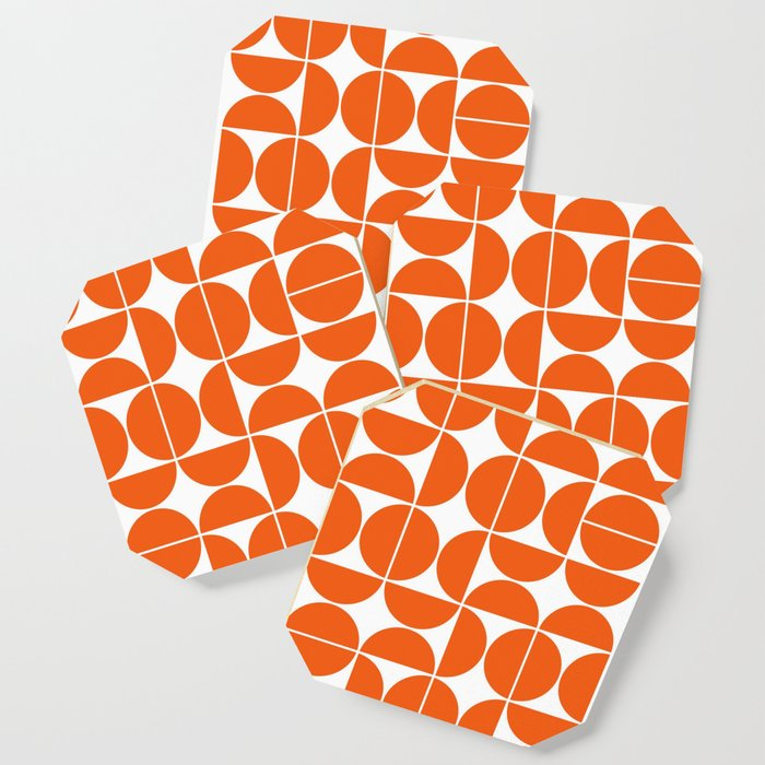 Mid Century Modern Geometric 04 Orange Coaster