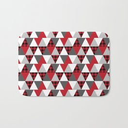 Quilt pattern buffalo check pattern red black and white with grey minimal camping Bath Mat