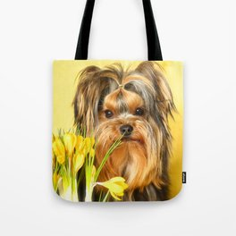 Spring Yellow Crocuses With Yorkie Puppy #decor #society6 Tote Bag