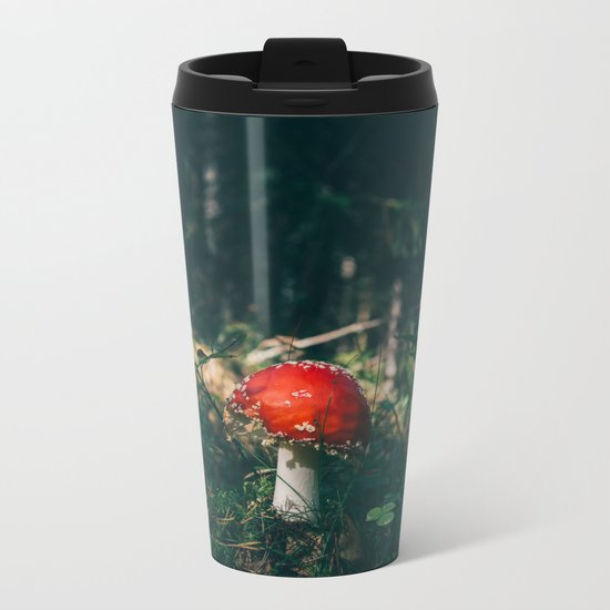 Little Red Mushroom in the Forest Metal Travel Mug