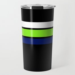 Team colors....Neon green .navy and white on black Travel Mug
