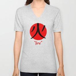 Japanese Word for Fire Kanji Aesthetic Art Gift Unisex V-Neck