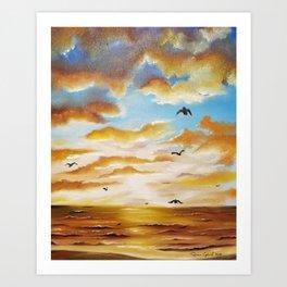Freedom Sky, Sunset Painting, Freedom Sky Painting, Birds at Sunset Art Print