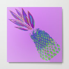 Neon Pineapple Punch on textured pink Metal Print