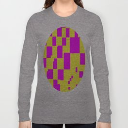 Egg Yellow-Fuchsia City Scapes Abstract Long Sleeve T-shirt
