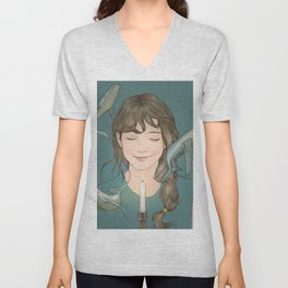 GIRL WITH WHALES Unisex V-Neck