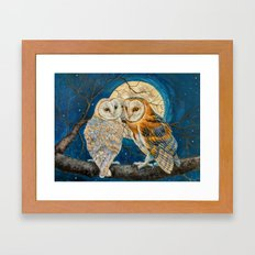 Owls Moon Stars Framed Art Print