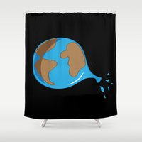 globe Shower Curtains featuring World globe by Tony Vazquez
