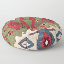 Red Diamond Arrow Konya // 19th Century Authentic Colorful Blue Green Cowboy Accent Pattern Floor Pillow
