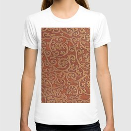 Golden Reddish Brown Tooled Leather T-shirt
