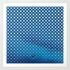 White polka dots and snorkel blue background with blur Art Print