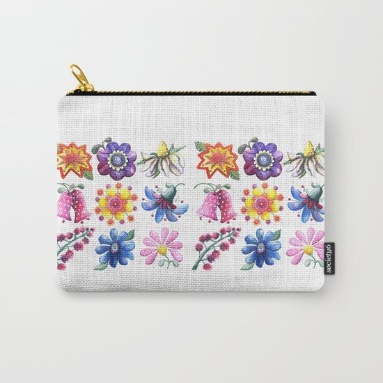 Pretty Flowers All in a Row Carry-All Pouch