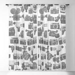 Cameras Black & White Sheer Curtain